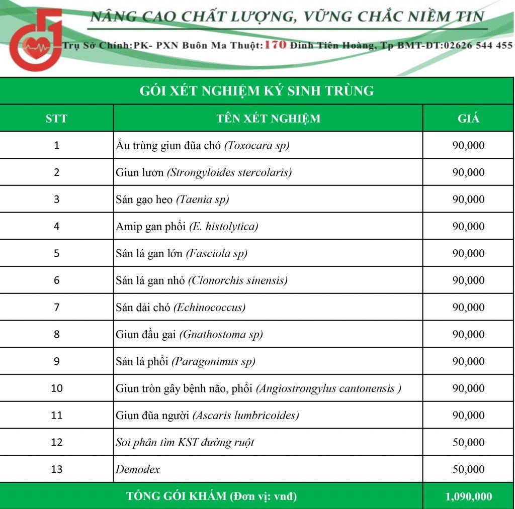 bảng giá xét nghiệm ký sinh trùng ở buôn ma thuột